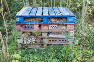 An insect hotel made from wooden pallets