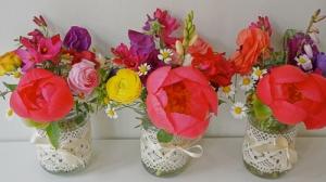 Jam Jars - sweet peas, peonies, ranunculus, chamomile flowers, anemones, ixias, eucalyptus parvifolia and pittosporum