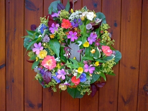 Summer Wreaths - roses, geraniums, buttercups, campanula, astrantia, alchemilla, cotinus, beech leaves, hypericum and lavender