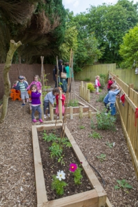 The children exploring their new garden