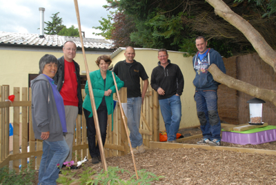 The very kind people who donated their time to build and plant the garden - and me!