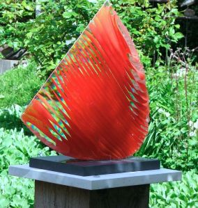 Colin Reid ARBS - Red Crescent (kiln-cast glass, granite base)