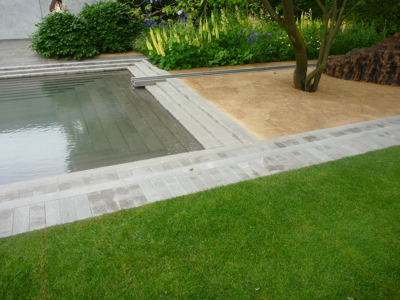 Beautifully detailed hard landscaping on the Laurent-Perrier Garden